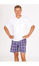 Трикотажная мужская футболка с клетчатыми шортами Vilfram VU_7362