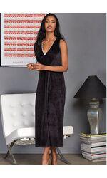 Длинная черная велюровая ночная сорочка Manam M_9677