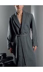 Мужской серый халат из утепленной ткани B&B B&B_Conero