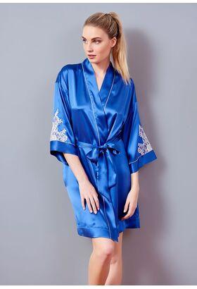 Короткий женский халат из натурального шелка Verdiani VI_4745