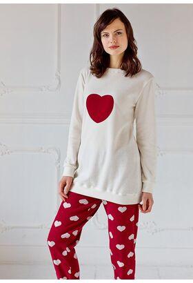 Теплая одежда для дома с сердцем на груди Pop corn D7001