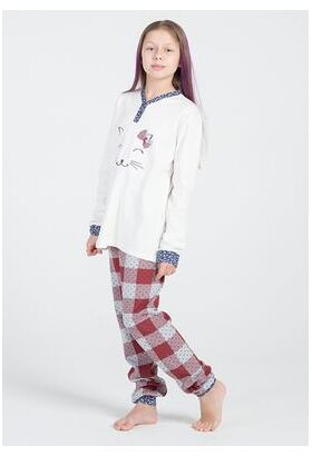 Хлопковая пижама для девочек с котенком DiBen DiBen_Ariel
