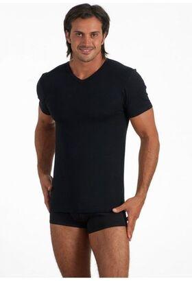 Мужская футболка из хлопка с модалом Snelly Snelly Uomo_7024 nero