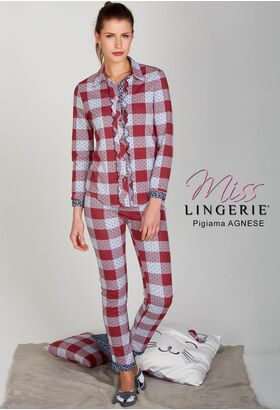 Очаровательная женская пижама в клетку Miss Lingerie DiBen_Agnese