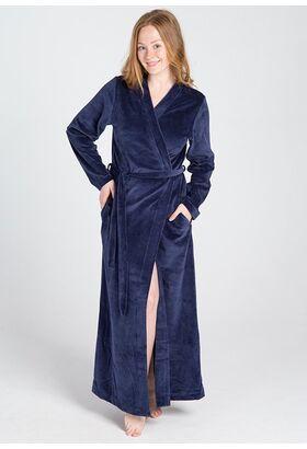 Темно-синий женский велюровый халат Manam М_9678 blu