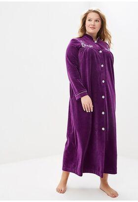 Удлиненный велюровый халат на пуговицах AURORE(PECHE MONNAIE France 391roses)