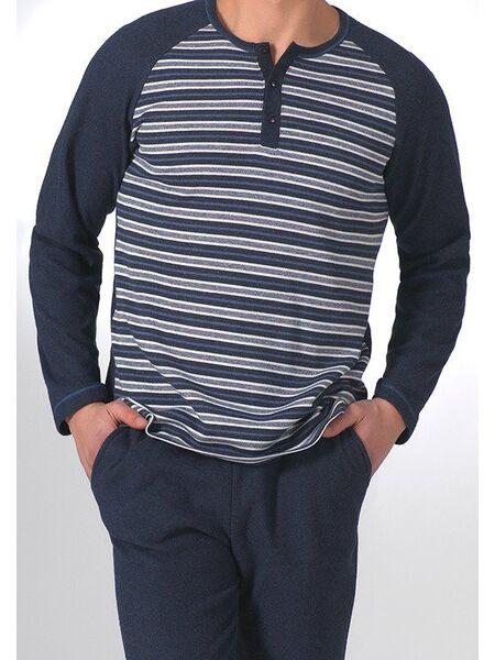 Мужской домашний костюм синего цвета Manam MU_9045