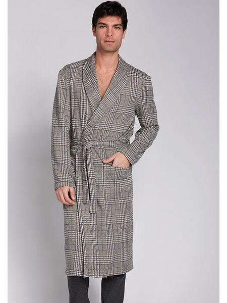 Клетчатый мужской халат с карманами Manam MU_9735