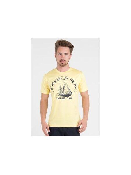 Яркая мужская футболка с парусником Ferrucci FE_2718 Aliscafo giallo
