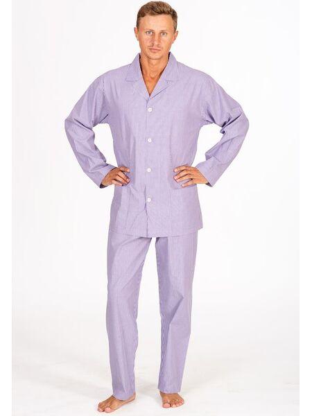 Классическая мужская пижама в сиреневых тонах B&B B&B_Queens