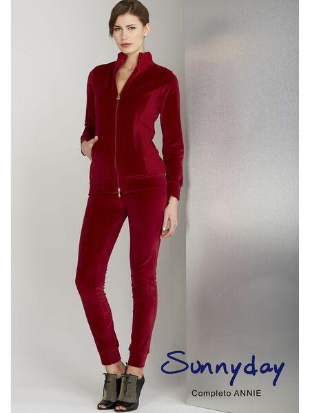 Красивый женский велюровый костюм бордового цвета Sunnyday DiBen_Annie