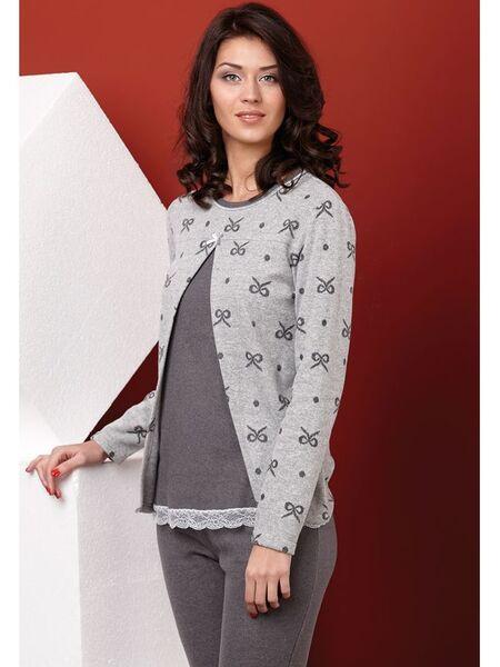 Теплая женская пижама с бантиками Manam V_8142