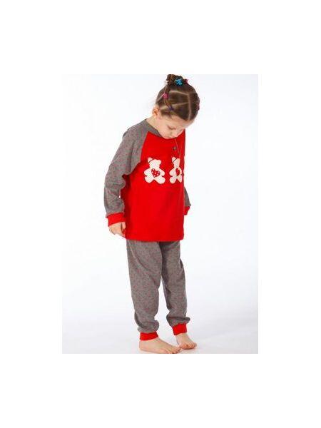 Детская теплая пижама с мишками Snelly Snelly_40026 grigio