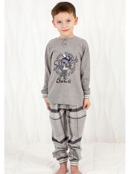 Уютная пижама для мальчика с клетчатыми брюками Happy people HP_3119