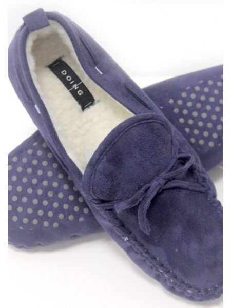 Тапочки домашние синие со шнурком Doing Sander blue