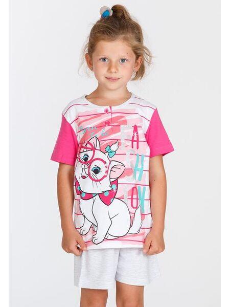 Пижама для девочки с коротким рукавом с кошкой Marie Planetex Planetex_WD22535