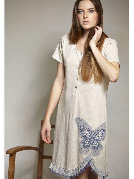 Хлопковая ночная сорочка с пуговицами Rebecca & Bross. R&B_3326