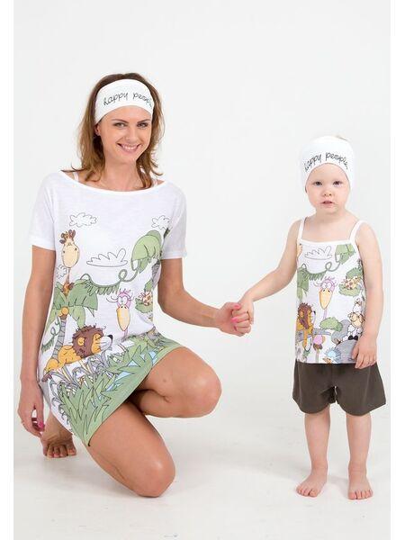 """Летняя пижамка для девочек """"Джунгли"""" Happy people HP_2989"""