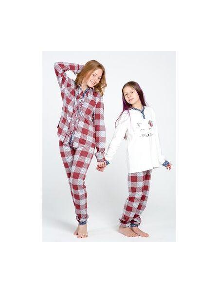Хлопковая пижама для девочек с котенком Piccola Miss DiBen_Ariel