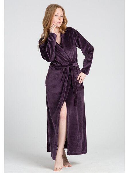 Длинный велюровый халат цвета баклажан Manam М_9678