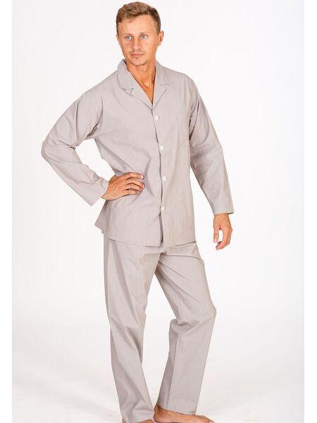 Бежевая мужская пижама на пуговицах в тончайшую полоску B&B B&B_U1901
