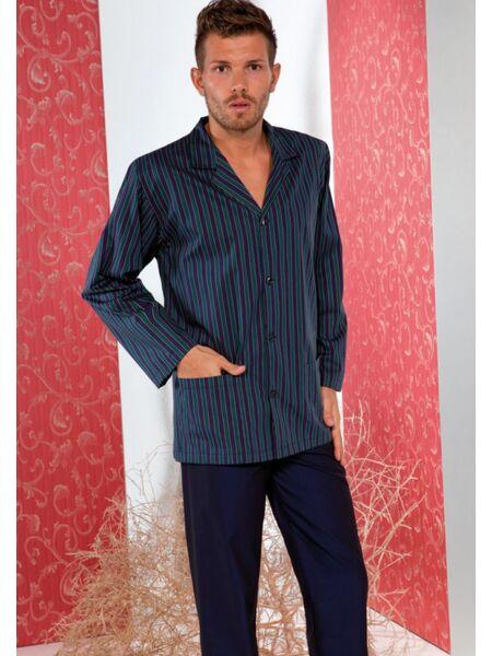 Пижама для мужчин с полосатой кофтой на пуговицах B&B B&B_1426