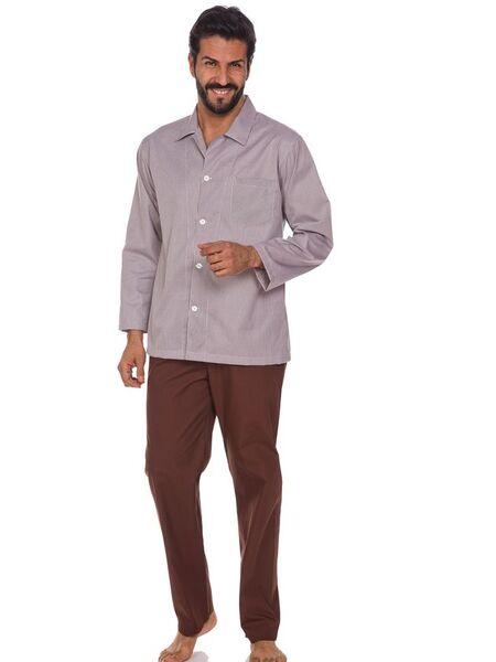 Классическая мужская пижама на пуговицах в клетку + штаны B&B B&B_U2940