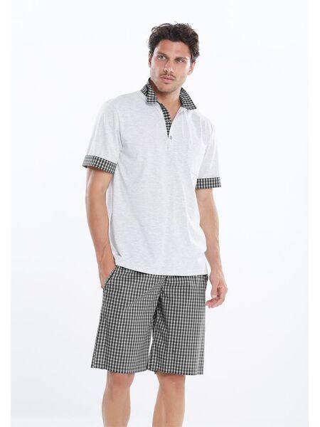 Мужские клетчатые шорты с футболкой-поло Manam MU_9426