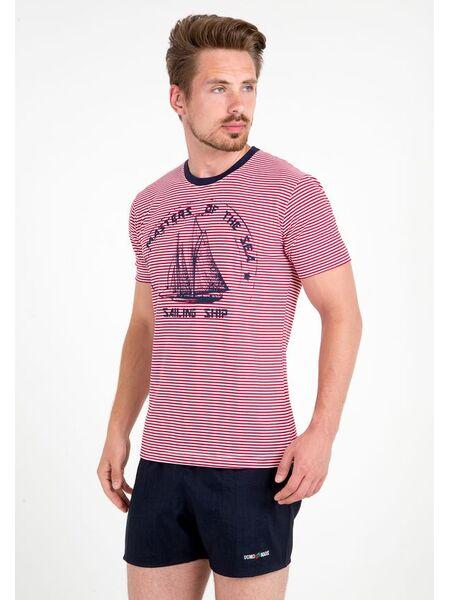 Летняя мужская футболка с кораблем Ferrucci FE_2717 Aliscafo rosso