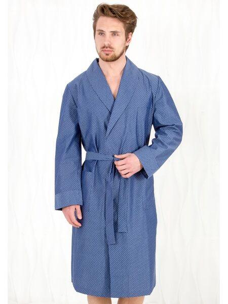 Хлопковый халат для мужчин синего цвета B&B B&B_Venezia