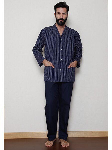 Темно-синяя классическая пижама на пуговицах B&B B&B_U7520