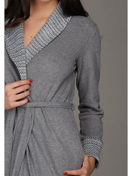 Длинный женский халат серого цвета Vilfram V_9564