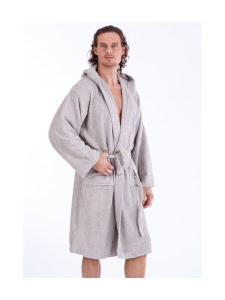 Мужской махровый халат с капюшоном серого цвета Bic Ricami BR_Uomo grigio